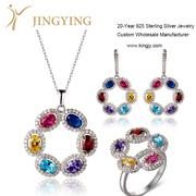 Sterling silver pendant necklace earrings ring jewelry set design cust